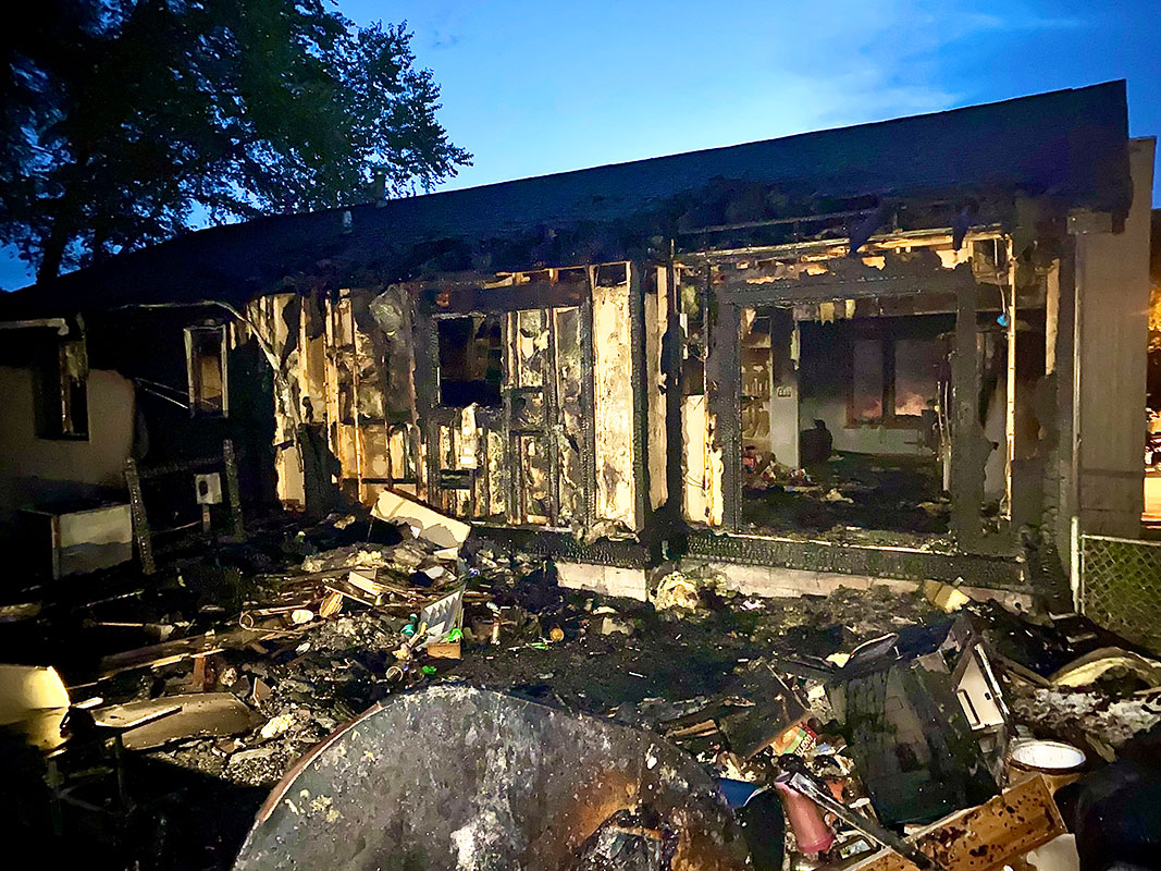 extreme fire damage to home