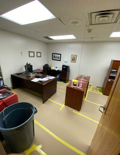office with desks after tear out at Saint Stephens Church in Omaha, NE