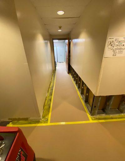 hallway after tear out at Saint Stephens Church in Omaha, NE