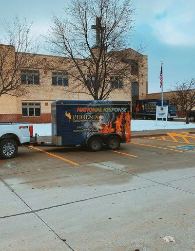 Phoenix Restoration trailer outside Saint Stephens Church in Omaha, NE