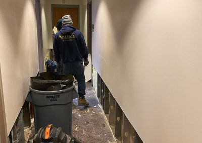 in progress wall restoration in hallway at Saint Stephens Church in Omaha, NE