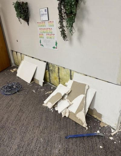 drywall boards from tear out at Saint Stephens Church in Omaha, NE